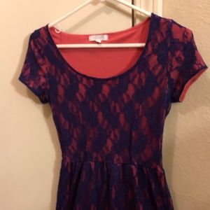 Delia's purple and pink shirt dress with lace.